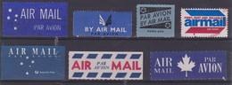 BY AIR MAIL - PAR AVION  Labels - Vignettes - Lot Of 7 Different - Lot De 7 Différentes - Cinderellas