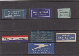 BY AIR MAIL - PAR AVION - FLUGPOST - LUFTPOST - LUGPOS  Labels - Vignettes - Lot Of 7 Different - Lot De 7 Différentes - Cinderellas