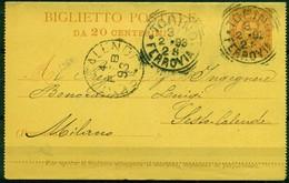 V8525 ITALIA REGNO 1893 Biglietto Postale 20 C. Fil. B2,  Interitalia 2, Da Torino 3.2.93 Per Sesto Calende, - 1878-00 Umberto I