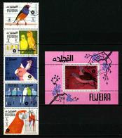 FUJEIRA - OISEAUX - SERIE COMPLETE 5 TIMBRES + BLOC OBLITERES - Birds