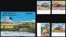 NEVIS 1991 LOCOMOTIVE E TRENI GIAPPONESI - St.Kitts E Nevis ( 1983-...)