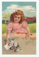 Très Belle Cpa 1910 En Relief / Embossed Card - Fillette Avec Lettre Et Bouquet De Fleurs - Hotels & Restaurants
