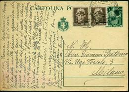 V9048 ITALIA REPUBBLICA 1946 Cartolina Postale 60 C.Democratica, Fil.C126A, Interitalia 123a,con Affrancatura Aggiuntiva - 6. 1946-.. Repubblica