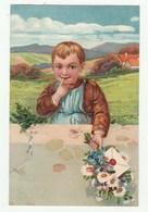 Très Belle Cpa 1910 En Relief / Embossed Card -Garçon Avec Lettre Et Bouquet De Fleurs -Cachet Exposition Bruxelles 1910 - Hotels & Restaurants