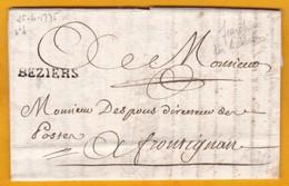 1775 - Marque Postale BEZIERS, Hérault Sur Lettre Avec Corresp. De 3 Pages Vers Frontignan, Hérault - Règne Louis XVI - Marcophilie (Lettres)