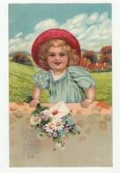 Très Belle Cpa 1910 En Relief / Embossed Card -Fille Avec Lettre Et Bouquet De Fleurs -Cachet Exposition Bruxelles 1910 - Hotels & Restaurants