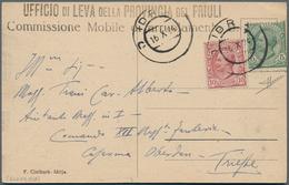 """Slowenien: Idrija, 1923, Italy 5 C., 10 C. Tied Apted """"IDRIJA 16 X 24"""" To Ppc """"Idrija."""" To Adjutant - Slowenien"""