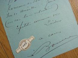 Max BOUVET (1854-1943) Chanteur OPERA Baryton. Opera Comique PARIS. Autographe - Autographs