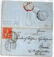Schweiz Suisse 1868: HELVETIA 10c Zu 38 Mi 30 Yv 43 O BETTWIESEN O WYL 21.XI.68 > GROSSHÖCHSTETTEN 22 NOV 68 Nach Bowil - 1862-1881 Helvetia Assise (dentelés)
