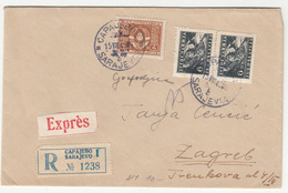 Yugoslavia, Letter Cover Registered Expres Travelled 1949 Sarajevo To Zagreb B190201 - Bosnien-Herzegowina