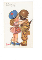 Cpa Militaria Illustration LECLERC - Soldat Couleur Noire Allié Casque Fusil Fillette Képi - SP - Embrassez-moi - Umoristiche