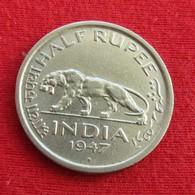 British India 1/2 Half Rupee 1947 (b) KM# 553 Inde Indien - Inde
