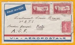 1930 - Enveloppe Aéropostale De Mulhouse, Haut Rhin, France Vers Kati, Soudan Français, AOF, Aujourd'hui Mali - Poststempel (Briefe)