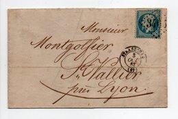- Lettre PAPETERIE DOERR, STRASBOURG Pour SAINT-VALLIER-SUR-RHONE 3.10.1863 - 20 C. Napoléon III Ob. Losange GC 3465 - - Marcophilie (Lettres)