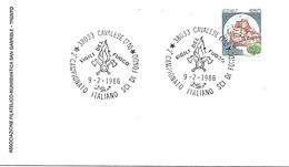 COR22 - MARCOFILIA - ANNULLO CAVALESE -2° CAMPIONATO ITALIANO SCI DI FONDO  VIGILI DEL FUOCO - 9.2.1986 - 6. 1946-.. Repubblica