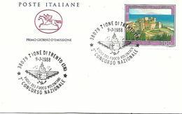 COR23 - MARCOFILIA - ANNULLO TIONE -2° CONCORSO NAZIONALE  VIGILI DEL FUOCO VOLONTARI - 9.7.1988 - 6. 1946-.. Repubblica