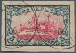 Deutsche Kolonien - Kamerun: 1900, Höchstwert Der Schiffszeichnung Auf Kleinem Briefstück Mit Zwei S - Kolonie: Kamerun