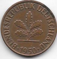 *2 Pfennig 1950 G Km 106  XF - [ 7] 1949-… : FRG - Fed. Rep. Germany