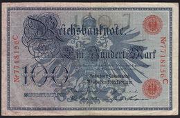 EBN11 - Germany 1908 Banknote 100 Reichsmark Pick #33a Serial 29mm Nr7718156C - [ 2] 1871-1918 : Duitse Rijk