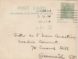 GOOD OLD GB South Eastern & Chatham Railway Postcard 1911 With Perfins Stamp - 1902-1951 (Kings)