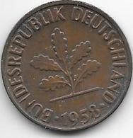 *2 Pfennig 1958 F Km 106  Vf+ - [ 7] 1949-… : FRG - Fed. Rep. Germany