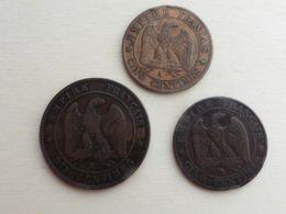 5 Centimes 1855 BB + 1864 A  + 10 Ct 1853 B  Napoléon Bronze Beau Lot - C. 5 Centimes