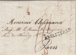 GOOD OLD GB Postal Cover To FRANCE 1816 - Great Britain