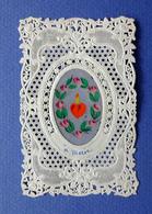 IMAGE PIEUSE .... CANIVET....A MARIE.....FLEURS PEINTES A LA MAIN SUR PAPIER DE SOIE - Images Religieuses