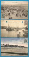 (G025) BLANKENBERGE - Plage, Digue, Port - 3 Cartes Avec Timbres Albert Ier Côté Vues - Blankenberge