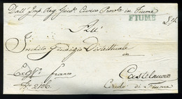 FIUME 1822. Dekoratív Levél, Kék Bélyegzéssel Castelnuovo-ba Küldve  /  1822 Decorative Letter Blue Pmk - Croatia