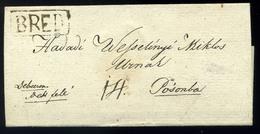 BRED 1838. Szép Portós Levél Pozsonyba Küldve, Hadadi Wesselényi Miklósnak  /  1838 Nice Unpaid Letter To Pozsony To Mik - Hungary