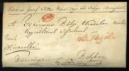 """BAJA 1831. Dekoratív Levél, Piros Bélyegzéssel , érdekes Tartalommal """"bűn Tárgyában"""" Bólyba Küldve  /  Decorative Letter - Hungary"""