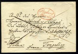"POZSONY 1824. Szép Levél, Piros ""Presburg Franco"" Tengelicre Küldve  /  Nice Letter Red Pmk To Tengelic - Slovakia"