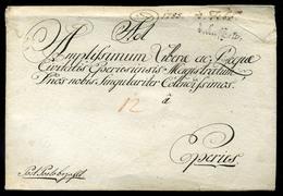 """KASSA 1785. Dekoratív Portós Levél """"Post Porto Bezahlt"""" """"V.Caschau"""" Eperjesre Küldve. Ritka Darab (G:R)  /  1785 Decorat - Slovakia"""