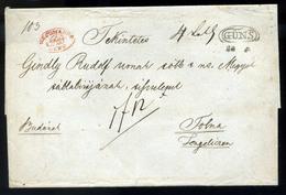 """KŐSZEG 1833-50. Szép Franco Levél Piros """"Recomando Güns"""" +""""Franco"""" Tengelicre Küldve (500p) / 1833-50 Nice Franco Letter - Hungary"""