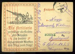 NÉMETORSZÁG II. VH 1942. Dekoratív, Grafikus Tábori Posta Levlap Budapestre Küldve   /  GERMANY WW II. 1942 Decorative G - Covers & Documents