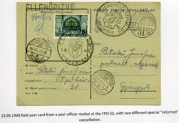 CSÍKSZEREDA 1940. Dekoratív, Cenzúrázott Visszatért Levlap, TP 31 Gyöngyösre Küldve  /  1940 Decorative Cens. Military P - Covers & Documents