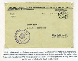 II.VH 1945.02. Ritka Tábori Posta Levél ,német Tábori Postával, M KIR I.HONVÉD HADTESTPARANCSNOKSÁG Bélyegzéssel  /  WW - Covers & Documents