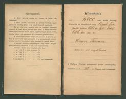 1884. Adósság Könyvecske Okmánybélyegekkel + Törlési Engedény  /  Debt Book Stamp Duty And Deletion Certificate - Covers & Documents