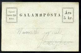 GALAMBPÓSTA 5Kr Régi Levelezőlap  /  PIGEON POST 5 Kr Vintage P.card - Hungary