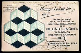 BUDAPEST 1912. Moskovits Anatómiai Cipőgyár / 1912 Moskovits Anatomical Shoe Factory Vintage Pic. P.card - Hungary