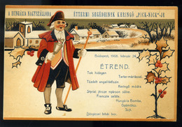 BUDAPEST 1908. Hungária Nagyszálloda , Litho Reklám Képeslap és Menükártya!  /  1908 Grand Hotel Hungary, Litho Adv. Vin - Hungary