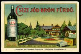 CSÍZFÜRDŐ Csizi Jód-bróm Fürdő, Reklámkártya, Képeslap Méret  /  CSÍZ Iodine-bromide Bath, Adv. Card, Vintage Pic. P.car - Slovakia