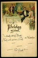 BUDAPEST 1901.12.31. ! Újévi Litho üdvözlő Képeslap, Szilveszteri Bélyegzéssel  /  1901.12.31. New-Years-Eve Litho Greet - Hungary