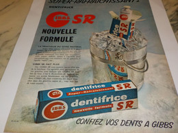 ANCIENNE PUBLICITE SUPER RAFRAICHISSANT  DENTIFRICE GIBBS  1955 - Perfume & Beauty