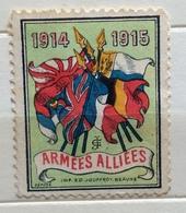1914 - 1915 ARMEES ALLIEES   BANDIERE    ERINNOFILO CHIUDILETTERA ETICHETTA PUBBLICITARIA - Francobolli