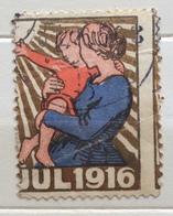 JUL 1916  MADRE E BAMBINO VERSO IL SOLE... ERINNOFILO CHIUDILETTERA ETICHETTA PUBBLICITARIA - Francobolli