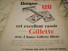 ANCIENNE PUBLICITE EXCELLENT RASOIR GILLETTE  1955 - Publicité