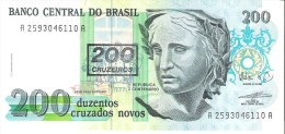 Brazil - Pick 225b - 200 Cruzados Novos = 200 Cruzeiros 1990 - Unc - Brésil