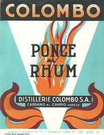 """2390  """" PONCE AL RHUM - DISTILLERIE COLOMBO """" ETIC. ORIG. - Etichette"""